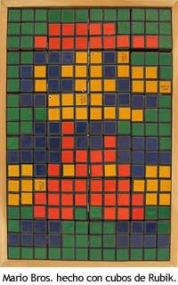 Sprite de Mario Bros. hecho con cubos de Rubik