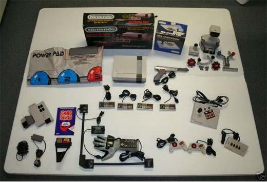 Una NES con un montón de accesorios.