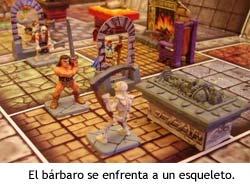 El bárbaro se enfrenta a un esqueleto en HeroQuest