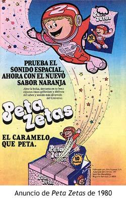 Anuncio de Peta Zetas de 1980