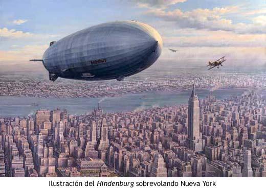 Ilustración del Hindenburg sobrevolando Nueva York