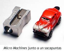 Micro Machines - Comparativa de tamaño con un sacapuntas