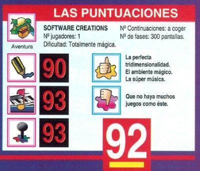 Solstice - NES - Puntuación Hobby Consolas