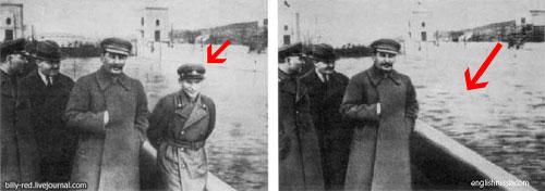 Stalin - Eliminando un enemigo político ejecutado de una fotografía