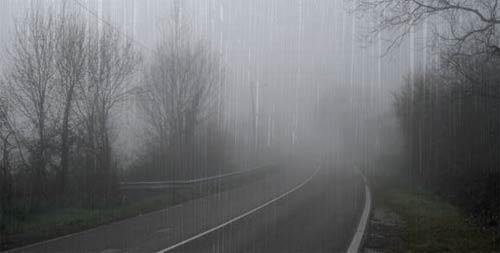 Carretera lluviosa con niebla