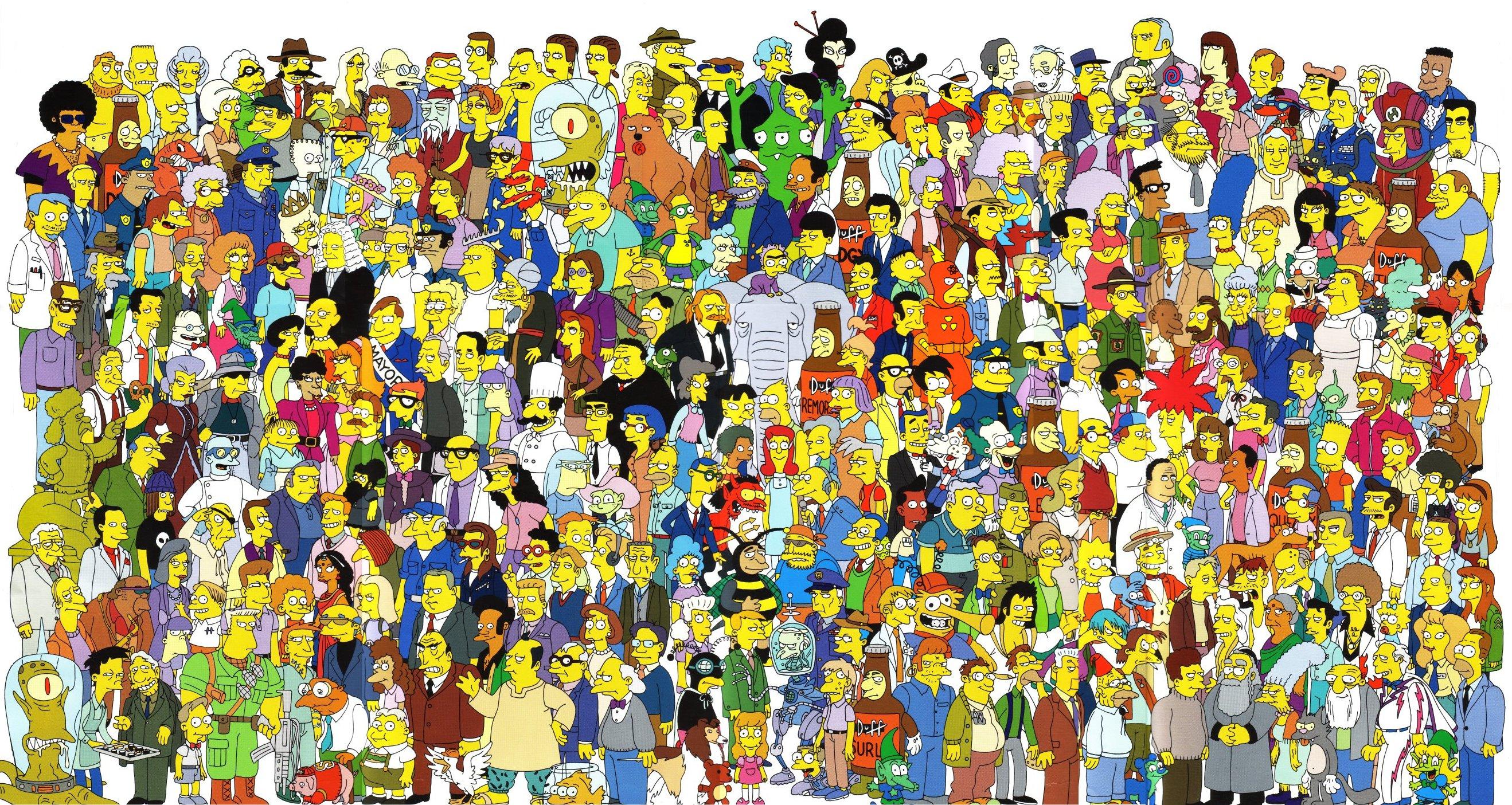 Pósters con todos los personajes de los simpson y futurama