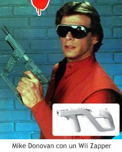 Mike Donovan con un Wii Zapper