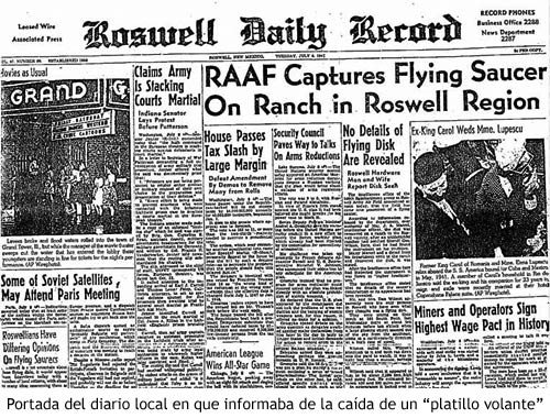 Incidente Roswell - Titulares del periódico