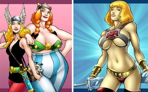 Asterix, Obelix y He-man en versión femenina