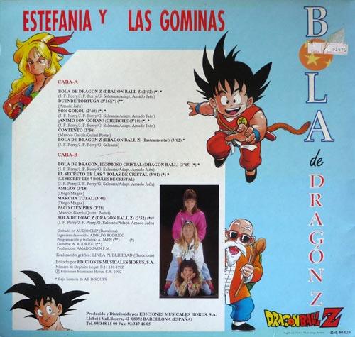Bola de Dragón Z - Contraportada del disco