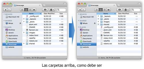 TotalFinder - Mostrar carpetas en la parte superior